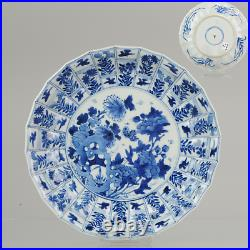 Antique Kangxi 18C Blue white Dish Flowers Birds Qing Chinese Porcelain