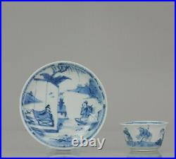 Antique Kangxi Period Blue and white Figural Tea Bowl Saucer Chinese Porcelain