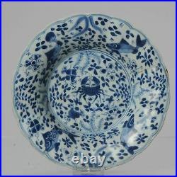 Antique Kangxi Period Blue and white Sea Life plate FIRE OF ROTTERDAM