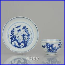 Antique Kangxi Period Blue and white Tea Bowl flower Marked Chinese China Por
