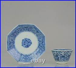 Antique Kangxi Period Blue and white landscape Tea Bowl flower