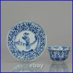 Antique Kangxi Period Blue white Liza Tea Bowl flower Marked Chinese China Po