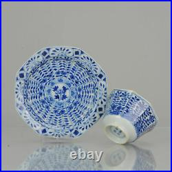 Antique Kangxi Revival 19th c Blue and white Tea Bowl flower Chinese China Po