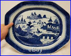 Antique Large 19 Inch Chinese Export Canton Tray Platter BLue and White
