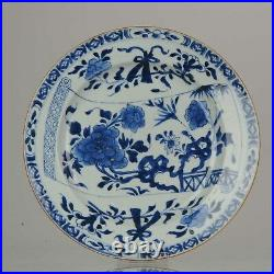 Antique Large Kangxi Period Blue and White Plate with Scroll Chinese Porcelain