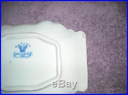 Antique Masons Ironstone Blue & White Flower & Bird Serving Platter Plate