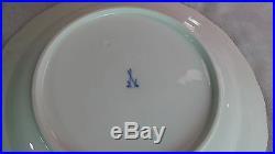 Antique Meissen 6 Dinner Plates Blue Band Double Crossed Swords Logo