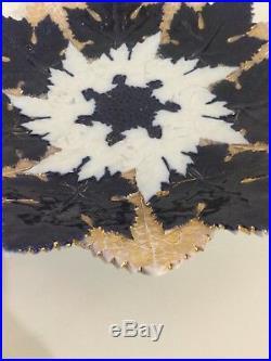 Antique Meissen Cobalt Blue & Gold Gilt Plate with White & Blue Leaf Pattern