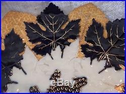 Antique Meissen Cobalt Blue, Gold, White Maple Leaf Plate 11.5