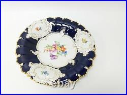 Antique Meissen Porcelain Plates Cobalt Blue Gold & White Circa 1900 Free S&H