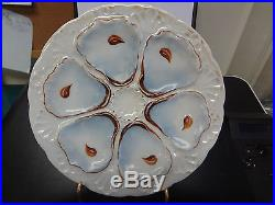 Antique Oyster Plate Blue White Brown