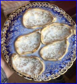 Antique Oyster Plate Haviland Limoges Gold & Blue France Selzer Cleveland 1876