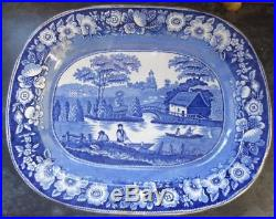 Antique Pearlware Meat Plate Platter Blue and White Transfer Ware Large