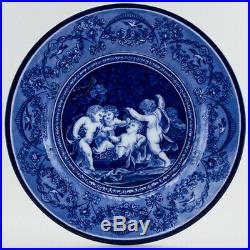 Antique Plate Adderley Cobalt Blue & White Cherubs Capriani & Pergolesi c1910