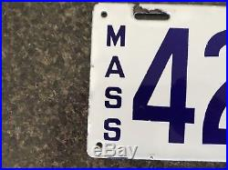 Antique Porcelain License Plates White & Blue 1914. RARE set from MASS