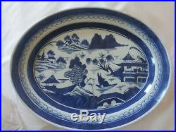 Antique QING DYNASTY Chinese EXPORT Blue & White PORCELAIN CANTON oval Platter