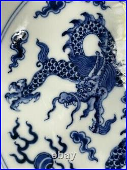 Antique Qianlong Qing Dynasty Blue and White Imperial Dragon Plate 18th Century
