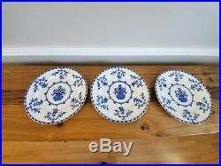 Antique Royal Doulton 9- 10 Dinner Plates Colbalt Blue & White Floral E1430