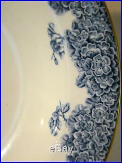 Antique Set 11 Royal Worcester W2279 Blue & White Floral Soup Plates 10 c. 1887