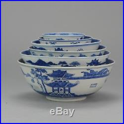 Antique Set 19th c Chinese Porcelain Blue & White Bowls Qing Kangxi Revival