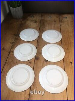 Antique Set Of 6 Small Blue & White Asiatic Pheasants Plates Podmore Walker & Co