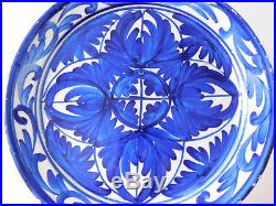 Antique Spain Spanish Blue and White Hand Painted Faience Majolica Plate Charger