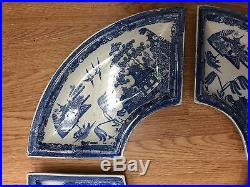 Antique Spode supper set blue and white china circulare plates four pieces