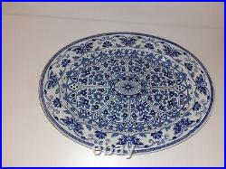 Antique Tg & F Booths Indian Ornament Blue White Serving Plate 14 Inches
