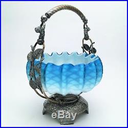 Antique Victorian Silver Plate Bride's Basket w Blue & White Glass Bowl Cherubs