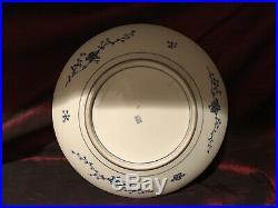 Antique Vintage Asian Porcelain Blue & White Floral Wall Plate Marked 13 1/4