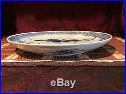 Antique Vintage Asian Porcelain Blue & White Platter Wall Plate 11 1/4