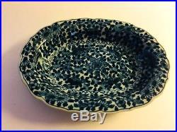 Antique Vintage Blue White Tichelaar Makkum Pottery Soap Trinket Oval Dish Plate