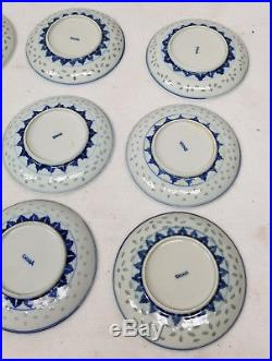 Antique Vintage Underglaze Blue and White Nanking Chinese Export PLates Dishes