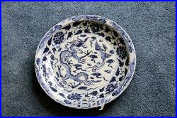 Antique Xuande 24 Chinese Porcelain Dragon Plate Blue White