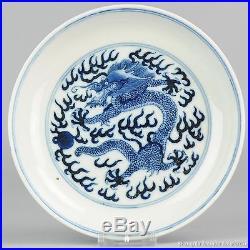 Antique ca 1900 Blue & White Guangxu Dragon Plate China Chinese Qing