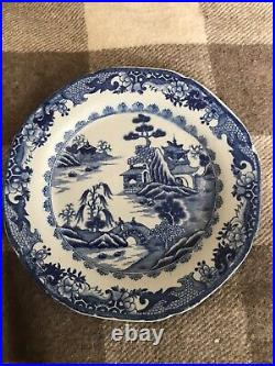 Antique chinese scene -hand painted blue/white plate. Blue cross mark