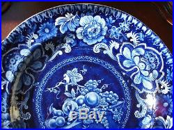 Antique dark blue/white staffordshire plate with floral, fruit, and bird