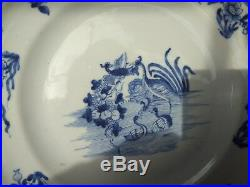 Antique exported chinese porcelain blue white platter plate dish