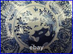 Antique exported chinese porcelain blue white platter plate dish marked