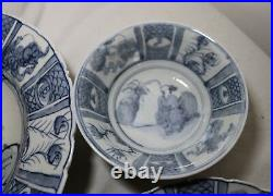 Antique handmade chinese blue and white porcelain plates dish bowl dinnerware