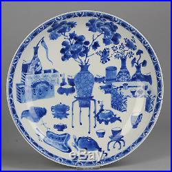 Antique large 28CM ca 1700 Kangxi Chinese Plate Blue & White Cobalt China Qing
