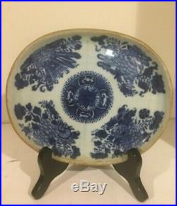 Antuques Chinese Canton Fitzhugh Blue White Large Oval Platter