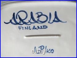 Arabia Anemone Finland oval platter & chop plate blue white Scandinavian design