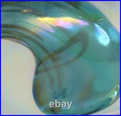 Art Glass Aqua Blue White 7 in Decorative Bowl Set 2 Italy Murano Folded Swirl