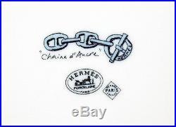 Authentic HERMES Paris Chaine d'Ancre Porcelaine White & Blue Plate with Box