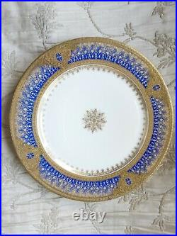 BERNARDAUD Limoges Saphire Blue & Gold Dinner Plates Set/6 Stunning