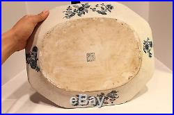 Beautiful Blue and White Chinoiserie Bird Pattern Porcelain Plate Tray Rectangle