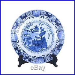 Beautiful Blue and White Porcelain Chinese Blue Willow Plate 16 Diameter