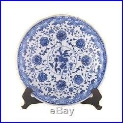 Beautiful Blue and White Porcelain Chinese Floral Pattern Plate 16 Diameter