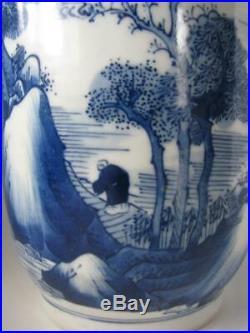 Beautiful' Chinese Blue & White Rouleau Porcelain Vase with Kangxi Mark NR